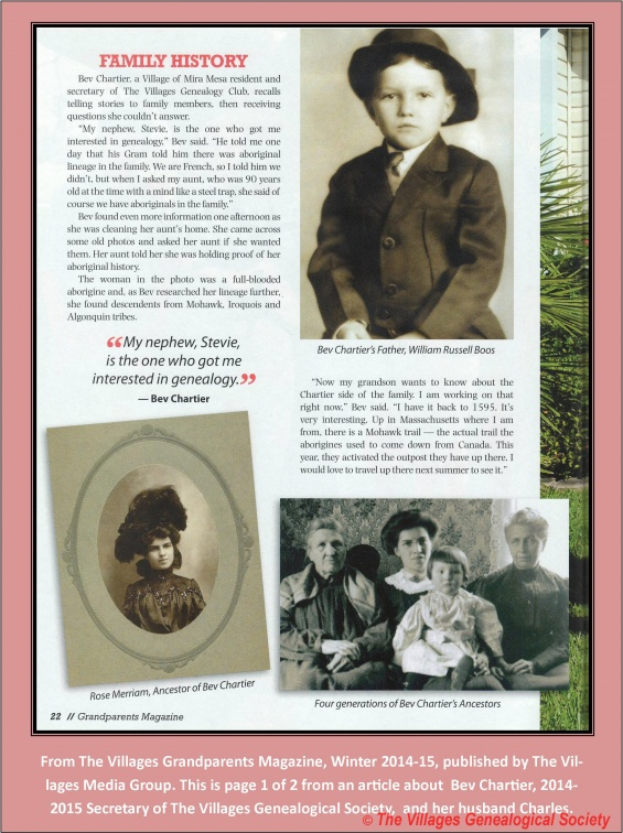 1 - Bev Chartier - Grandparents Magazine Page 1