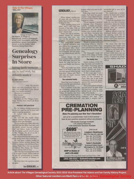 5 - Daily Sun Genealogy Article 2015 01 10