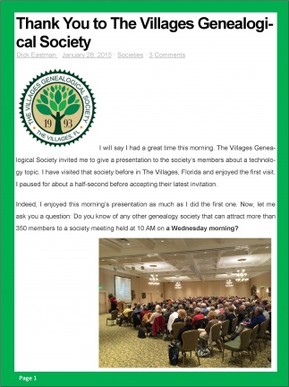 6 - Thank You to The Villages Genealogical Society - Dick Eastman p1